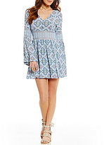 Moon River V-Neck Bell Sleeve Printed Fit & Flare Dress