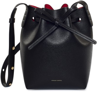 Mansur Gavriel Saffiano Mini Mini Bucket Bag - Black/Flamma