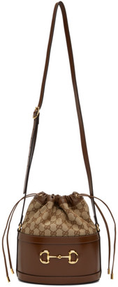 Gucci Brown and Tan 1955 Horsebit Bucket Bag