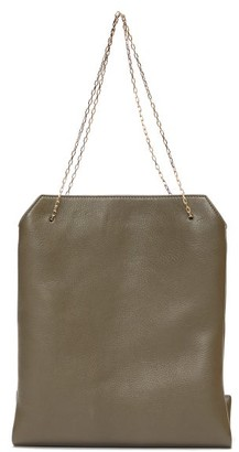The Row Lunch Bag Leather Clutch - Khaki
