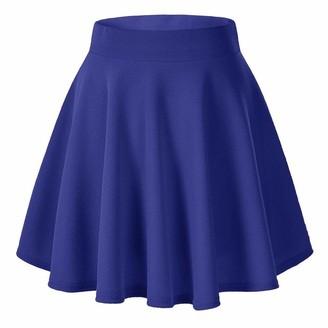 Zerototens Women Dress Zerototens Women's Mini Skater Skirt Candy Colour High-Waisted Pleated Mini Skirts Ladies Stretchy Ball Gown Skirt Basic Solid Versatile Stretchy Flared Skirt Blue