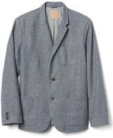 Linen-cotton herringbone blazer