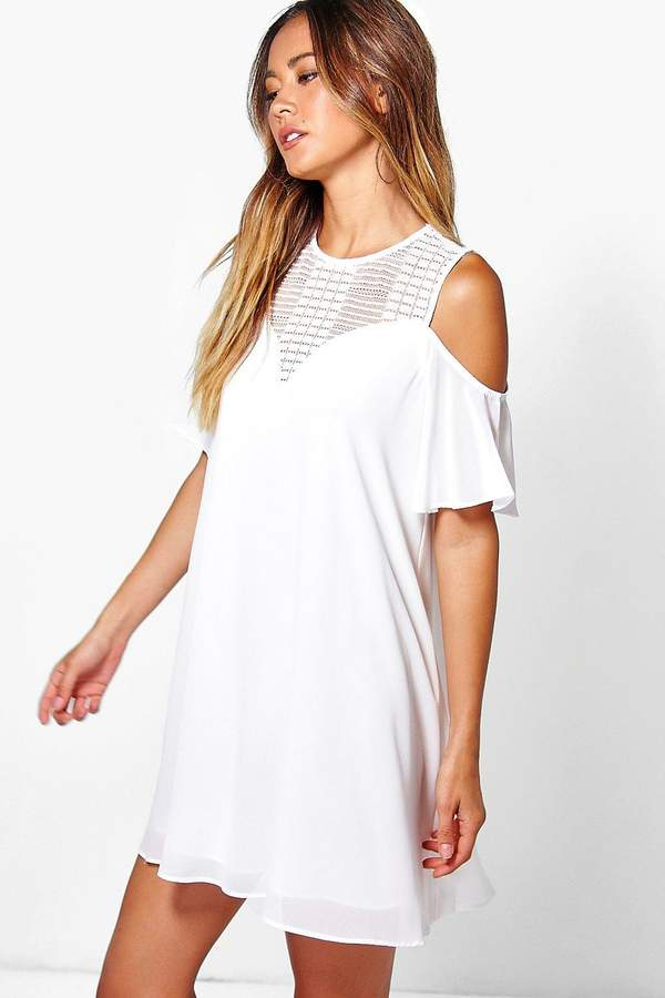 boohoo Lace Cold Shoulder Swing Dress