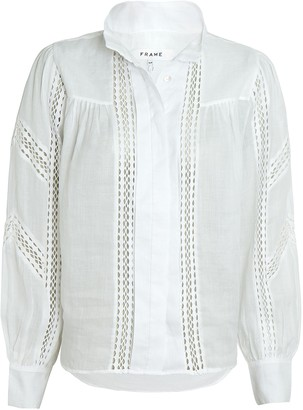 Frame Panel Lace Button-Up Blouse