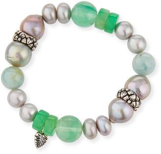 Stephen Dweck Silver Pearl & Chrysoprase Bracelet