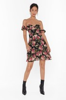 Nasty Gal Womens How Will I Grow Floral Off-the-Shoulder Dress - black - 4, Black