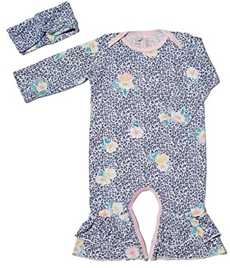 Everly Grey Ruffle Romper Two-Piece Set (Infant/Toddler) (Jungle Floral) Women's Pajama Sets