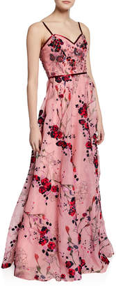 Marchesa Printed Floral-Embroidered Sleeveless Organza Gown w/ Beaded Bodice
