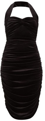 Norma Kamali Bill Sweetheart-neckline Velvet Dress - Black
