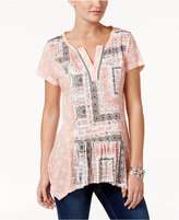 Style&Co. Style & Co Style & Co Petite Mixed-Print Handkerchief-Hem Top, Created for Macy's