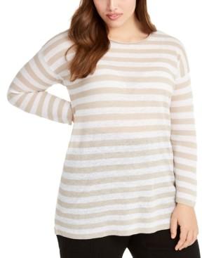 Eileen Fisher Plus Size Striped Sweater