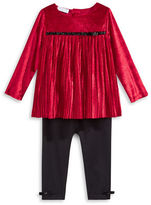 First Impressions Two-Piece Pleated Velvet Tunic and Leggings Set