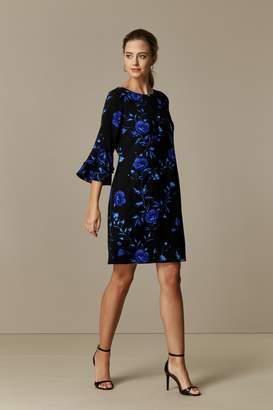 Wallis PETITE Blue Floral Print Flute Sleeve Shift Dress