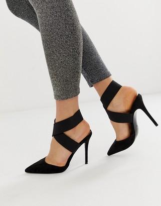 ASOS DESIGN Payback elastic high heels in black