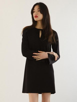 Long sleeve ribbon dress black