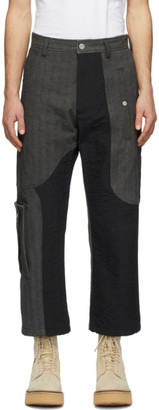 Diesel Red Tag Grey and Black A-Cold-Wall* Edition T-Stain Contrast Cargo Trousers