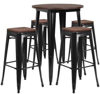 Williston Forge Mulligan Round 5 Piece Pub Table Set Williston Forge Color: Black