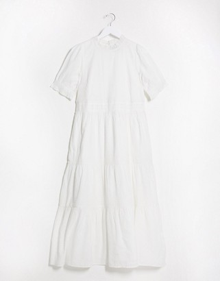 ASOS DESIGN short sleeve tiered cotton dobby smock maxi dress with lace inserts in white