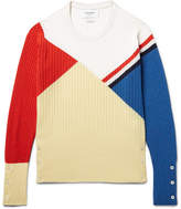 Thom Browne Colour-block Ribbed Cashmere Sweater - Pastel yellow