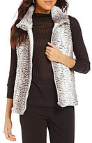 Multiples Faux-Leather Trim Banded Collar Reversible Faux-Fur Vest