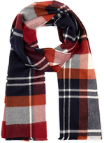 Johnstons of Elgin Red Shirt Check Extra-Fine Merino Wool Scarf