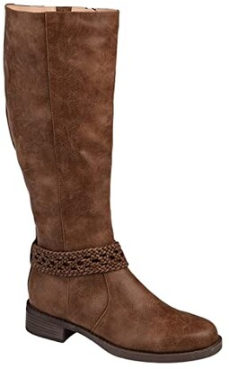 Journee Collection Paisley Boot - Extra Wide Calf (Brown) Women's Shoes