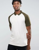 Asos Contrast Raglan Polo Shirt In Off White And Green