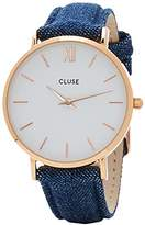 Cluse Women's Minuit 33mm Blue Denim Band Metal Case Quartz Watch CL30029