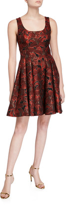 Zac Posen Sleeveless Floral Jacquard Fit-and-Flare Dress