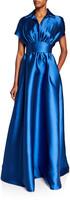 Lela Rose Fluid Duchess Satin Shirt-Top Gown