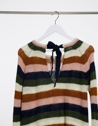 Vila round neck knitted jumper in orange stripe