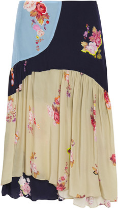 Preen Line Asymmetric Color-block Floral-print Satin-crepe Midi Skirt