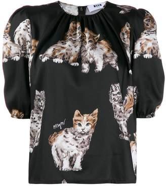 MSGM kitten print top