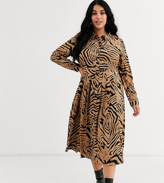 Wednesday's Girl Curve midi shirt dress with pleated skirt in animal print