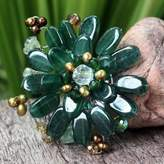 Hand Crafted Floral Quartz Brooch Pin, 'Jungle Flowers'