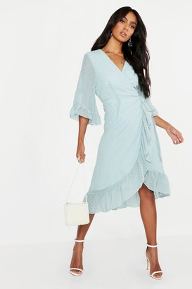 boohoo Dobby Chiffon Wide Sleeve Midi Wrap Dress