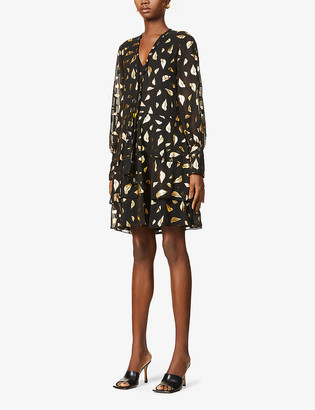 Diane von Furstenberg Mylah graphic-pattern crepe mini dress