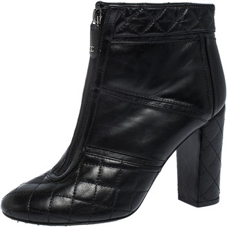 Chanel Black Quilted Leather Front Zip Ankle Boots Size 38.5