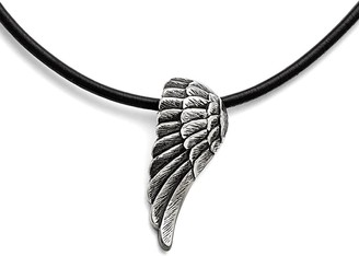 Chisel Stainless Steel Black Leather Antiqued Wing 20-inch Necklace