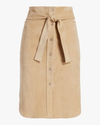 STOULS Tie-Front Suede Skirt