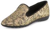 Giuseppe Zanotti Lace-Print Leather Smoking Slipper, Gold