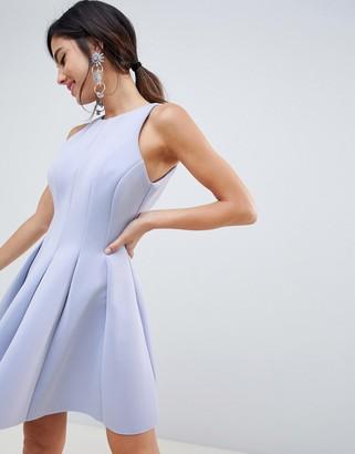 Asos Design DESIGN structured scuba open back mini skater dress-Blue