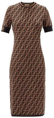 Fendi Ff-jacquard Dress - Brown