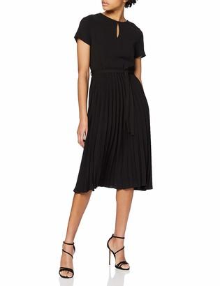 Dorothy Perkins Women's Black Wrap Pleated Midi Dress 6