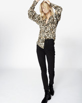 Nicole Miller Leopard Puff Sleeve Blouse