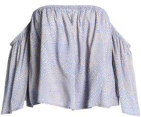 Tart Collections Off-the-shoulder Printed Crepe De Chine Top