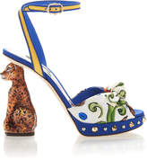 Dolce & Gabbana Printed Crepe Sandals With Sculpted Heel