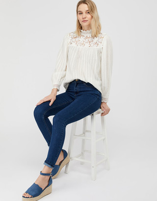 Under Armour Floral Lace High Neck Blouse Ivory