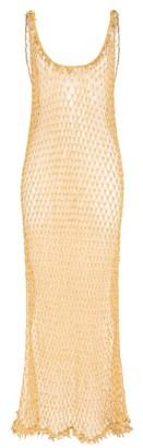 My Beachy Side - Orpul Beaded Crochet Maxi Dress - Womens - Gold