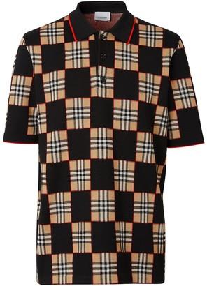 Burberry Checker short-sleeved polo shirt